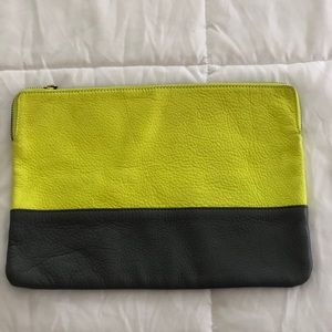 Gap leather yellow and grey clutch.